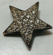 Vintage Paquette Silver Tone Star Pin Clear Rhinestones