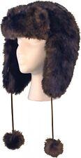 Womens Fashion Brown Fur Aviator Trapper Earmuff Ski Cap Hat