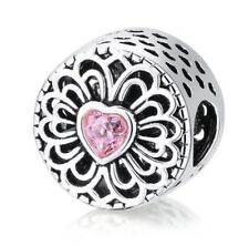 Beautiful Heart Pattern Charm Pink Cz Openwork Silver Plated For Bracelets