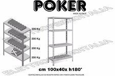 Kit scaffale metallico 4 ripiani incastro Poker legno truciolare 100x40x180