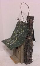 Bird House Rock Chimney Decorative Green Tin Roof Birdhouse Collectible