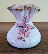Lefton Ceramic Flower Boudoir Vanity Vase Womans Brides Purse Hand Painted Japan