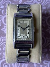 Vintage Art Deco Tank Case Watch Military Style Verax 15 Jewels Watch Fixed Lugs