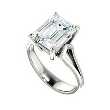 3Ct Near White Emerald Moissanite Solitaire Engagement Ring 925 Sterling Silver