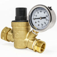 "3/4"" Water Pressure flow drip valve Regulator Brass Adjustable Reducer w/ Gauge"