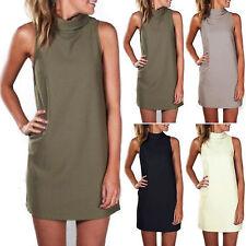 Damen High Neck Kleider Longshirt Hemdkleider Sommer Minikleid Übergroß Gr.34-48