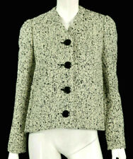 BALENCIAGA Off-White & Black Melange Wool Boucle Tweed Jacket 34