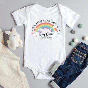 Personalised Rainbow Baby Vest Pregnancy Announcement Grow After Every Storm