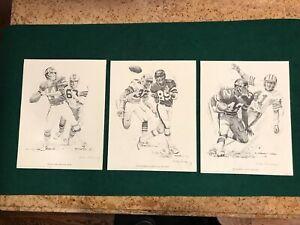 Shell Oil 1981 NY Jets Football Sketches - set of 3 - Todd / Walker / Harper
