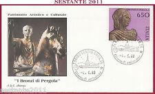 ITALIA FDC ROMA 1988 I BRONZI DI PERGOLA 650 ANNULLO TORINO Z13