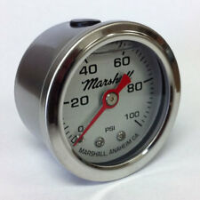 "Marshall 1.5"" Direct Mount Liquid Filled Fuel Pressure Gauge, Silver, LS00100"