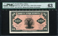 French West Africa 1942, 100 Francs, P31a, PMG 63  UNC