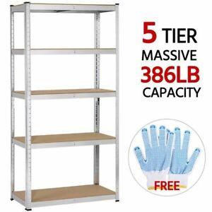 5 Tier Storage Rack Utility Storage Shelves Metal Shelving Units Adjustable