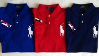 $98 NWT Mens Polo Ralph Lauren Classic Big Pony 5 Rugby Mesh Shirt Blue White