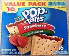 NEW Pop Tarts Toaster Pastries Strawberry Unfrosted 16 Count Free World Shipping