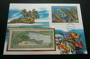 [SJ] Maldives Underwater Lifes 1986 Fish Coral Sea Marine FDC (banknote cover)