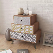 Bedside Table Bed Side Cabinet Nightstand Chest With 3 Drawers Brown Decor Style