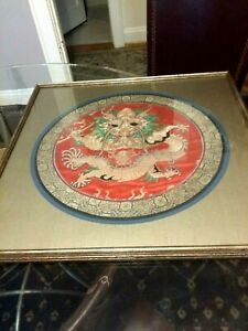 Vintage/Antique large framed under glass silk embroidered Chinese Dragon