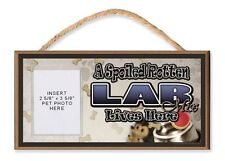 A Spoiled Rotten Lab Mix Lives Here Dog Sign w/ Clear Photo Pocket