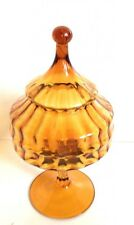 Mid Century Modern Empoli Apothecary Jar With Lid Compote Amber Italian