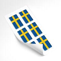 Sweden Flag Domed Gel Stickers Car Vinyl Universal Decal 25mm x6