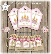 MAGICAL FLORAL GOLD UNICORN BIRTHDAY PARTY PERSONALISED THANK YOU TAGS X 12