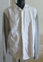 Mens Brooklyn Calling NYC White Shirt Gray Flannel Long Sleeves Size Large