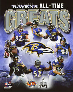 BALTIMORE RAVENS All-Time Greats Glossy 8x10 Photo Ray Lewis Joe Flacco Poster