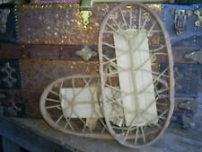 Antique Vintage Snowshoes Bent Wood-Canvas-Rope marked ENGLAND Original