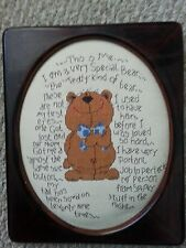 Teddy Bear Cross Stitch Framed Picture Adorable Vintage Teddy Poem Saying