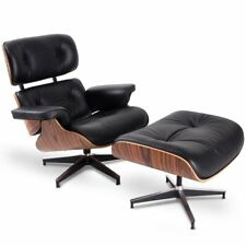 Mid century Eames Lounge Chair Ottoman Genuine Top Grain Italian Leather Black