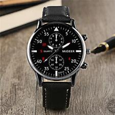 Fashion Men's Analog Quartz Stainless Steel Watches Leather Band Wrist Watch