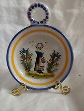 Vintage Quimper Small Tea Bag Holder Hand-Painted one Handle Bretagne
