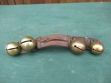 Antique Brass 4 Horse Sleigh Brass Bell Bells On An Old Leather Strap