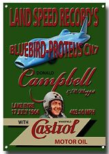 LGE A3 SIZE BLUEBIRD-PROTEUS CN7 LAND SPEED RECORD'S METAL SIGN.DONALD CAMPBELL.