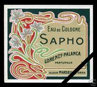 Antique French Perfume Label Art Nouveau Vintage Sapho Cologne Lorenzy Palanca