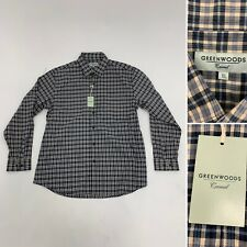Greenwoods Blue Plaid Check Shirt Long Sleeve 100% Cotton XL BNWT RRP £30