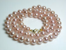 6x7mm AAA quality metallic pink freshwater pearl & 9 carat gold necklace