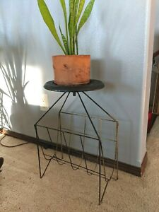MCM Wire Plant Stand Mid Century Modern Atomic Ashtray Magazine Rack Vintage 20""