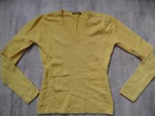STRENESSE schöner V-Ausschnitt Pullover 50 % Kaschmir gelb Gr. 38 TOP KoS418