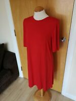 Ladies M&S Dress Size 16 Red Jersey Smart Casual Stretch Tunic