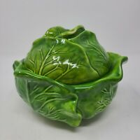 Vintage Holland Mold Ceramic Green Cabbage Leaf Soup Vegetable Serving Bowl