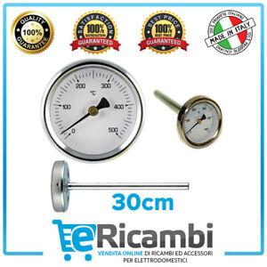 Termometro per Forno a Legna Fumi 500° C 60 MM Sonda Lunga CM 10 15 20 30 27802V