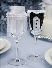 Bride & Groom Decorative Champagne Glass Covers Wedding Favor by Victoria Lynn