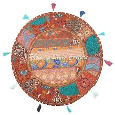 Boho Vintage Round Patchwork Floor Pillow Cover Adults Embroidered 22x22 Cotton