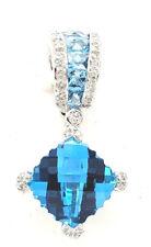 Bellari Blue topaz 4.55tcw Diamond .18tcw 18k white gold enhancer pendant NWT