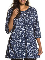 Ulla Popken tunic top plus size 32/34 navy blue floral print A line cotton knit