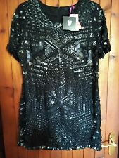 Gorgeous VERY Black Beaded sequin Dress Size 18 Bnwt ref rail