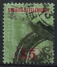 Malaya Straits Sett. 1912-23 SG#212 $5 Green & Red/Green KGV Die I Used #A81981