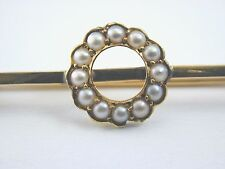 9ct gold natural seed pearl brooch 1.89g 10.7mm 38.7mm